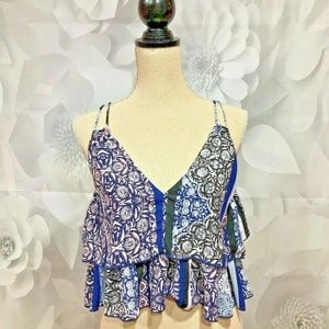 OLIVACEOUS Blue Tiered Cropped Blouse Small